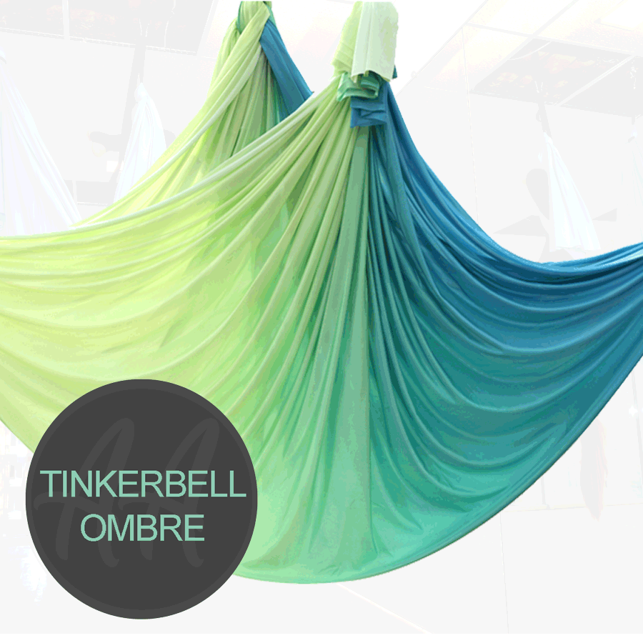 TINKERBELL GREEN YELLOW OMBRE AERIAL YOGA HAMMOCKS FOR SALE