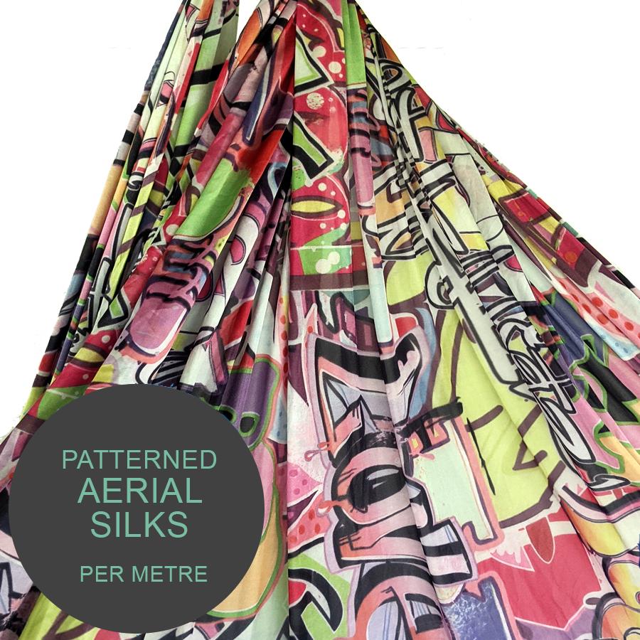 Graffiti Aerial Silks per meter For Sale
